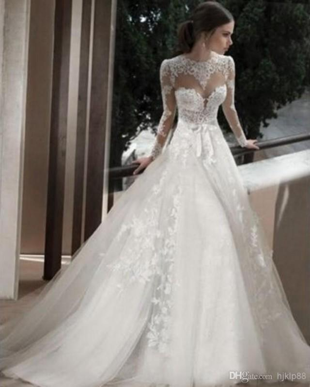 2014 Sheer Jewel Bridal Wedding Gowns With Long Sleeves Appliques Lace Court Train Cathedral