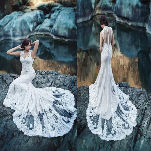 Couture Wedding Dresses And Bridal Gowns: 2015 New Arrival Sheer Back Mermaid Wedding Dresses