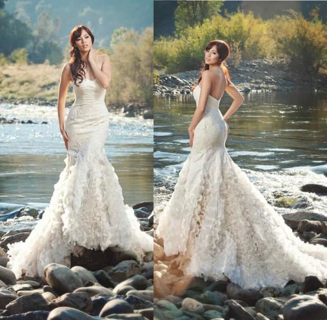 A Vintage Formal Outdoor Wedding In Virginia: 2015 New Arrival Mermaid Wedding Dresses Strapless Organza