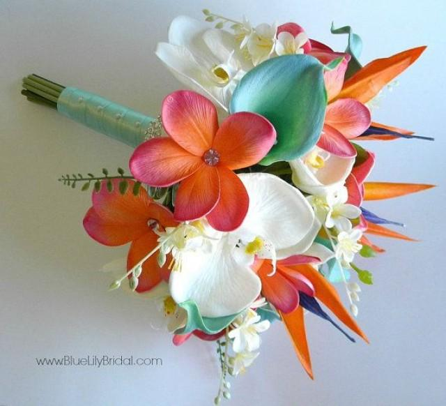 Beach Bridal Bouquet In Coral Aqua And Cream Made With Real Touch