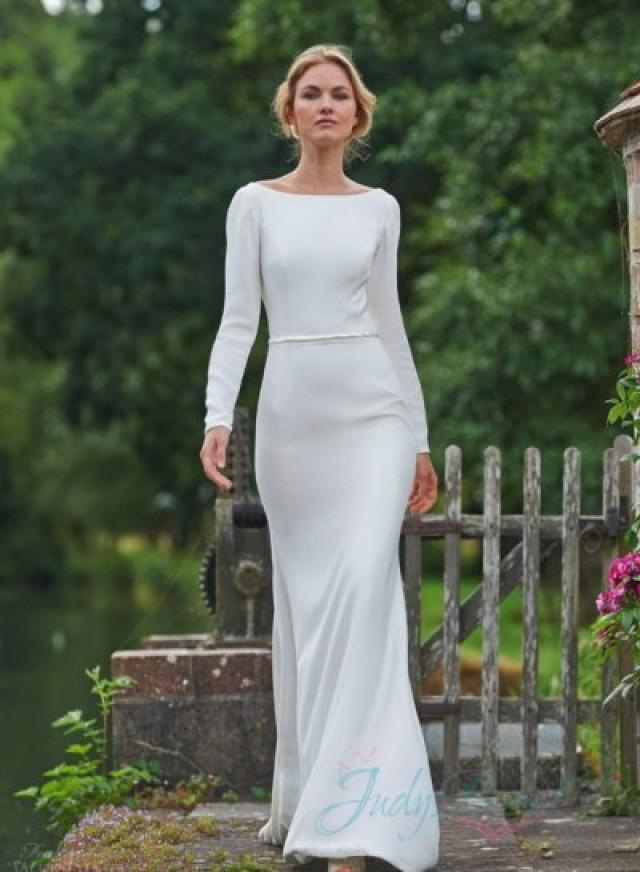 Jw16081 sexy simple long sleeved backless sheath wedding for Simple long sleeve wedding dresses