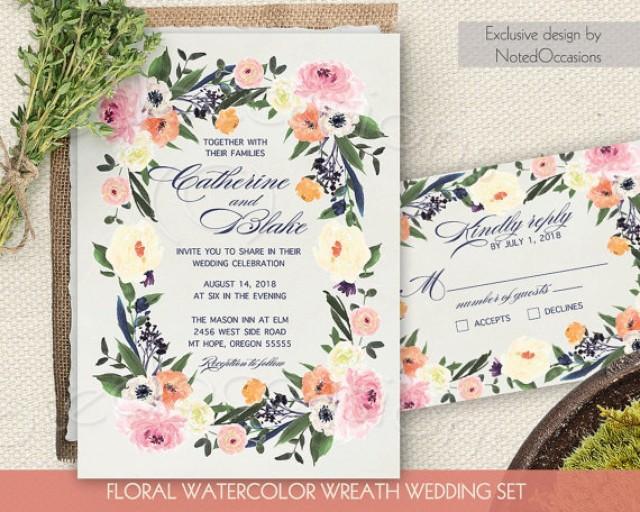 Watercolor Floral Wreath Wedding Invitation Printable Wedding Invitation Suite DIY Digital RSVP