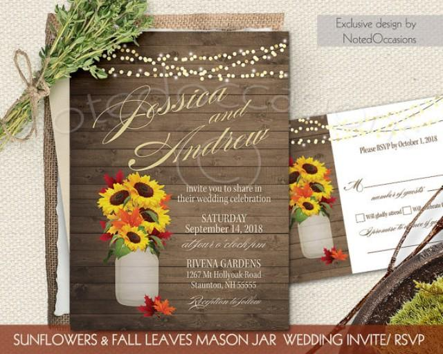 Rustic Fall Wedding Invitations: Fall Wedding Invitations Set Sunflowers Fall Leaves Rustic