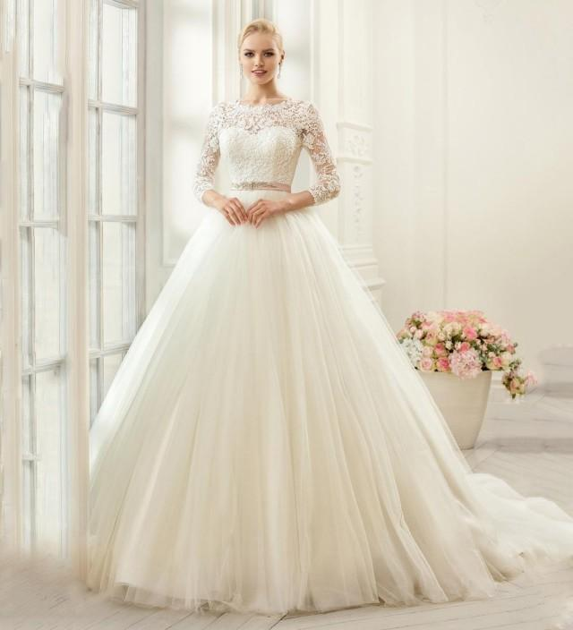 Princess 2016 Wedding Dresses Scoop Tulle Sheer 3/4 Long