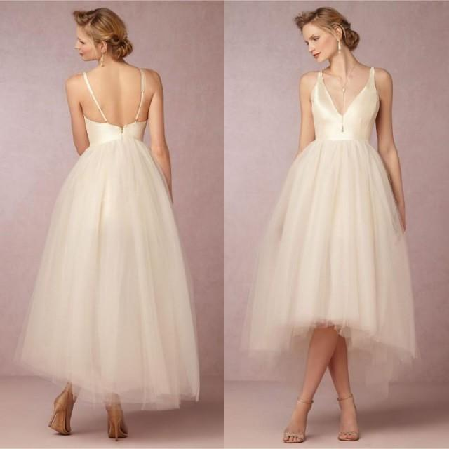 Fashion Summer Tulle Beach Short Wedding Dresses 2016