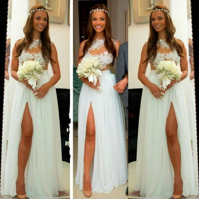 Celebrity Wedding Login: Real Picture Lace 2016 Wedding Dresses High Split Chiffon