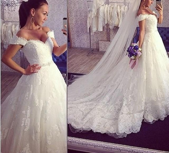 Bridal Gowns With Lace Cap Sleeves: 2016 A-Line Lace Wedding Dresses Off Shoulder Cap Sleeves