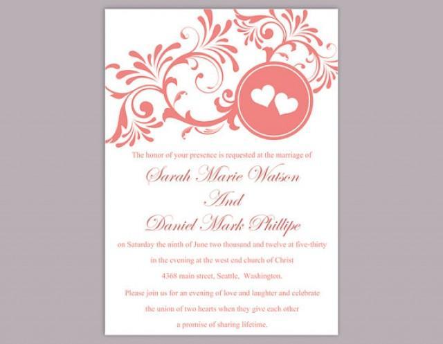 Elegant Wedding Invites Coupon: DIY Wedding Invitation Template Editable Word File Instant