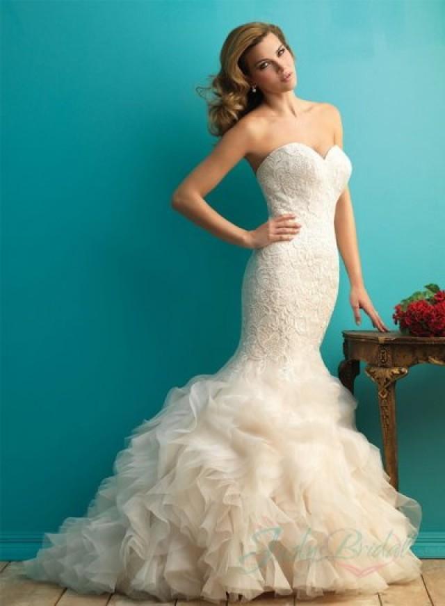 Y Sweetheart Neck Lace Overlay Organza Ruffles Mermaid Wedding Dress 2363673 Weddbook