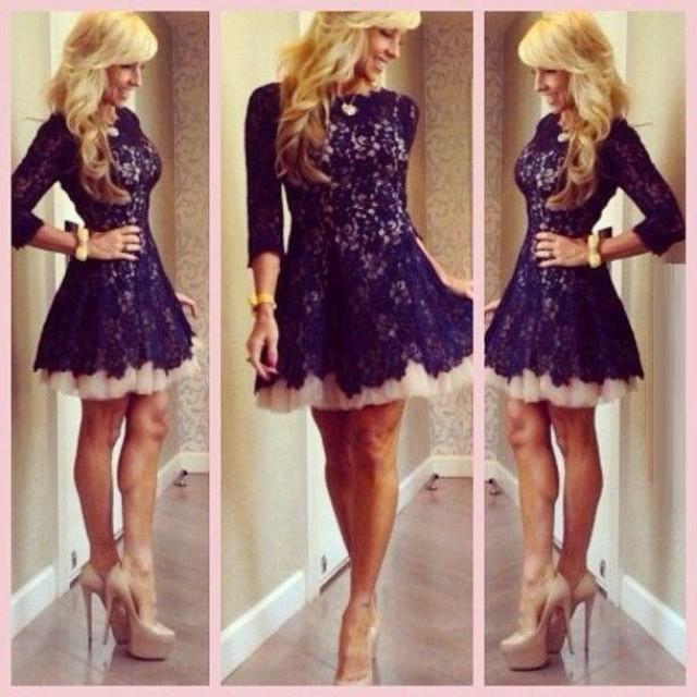 Modest Lace Illusion 2016 Sheer Homecoming Dresses 3 4