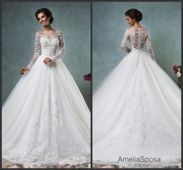 Wholesale Newest Simple Design Elegant Bridal Dress A Line: Elegant White Lace Wedding Dresses Long Sleeve Sheer 2016