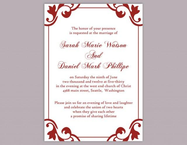 DIY Wedding Invitation Template Editable Word File Instant Download Elegant Printable Red Maroon 2364089