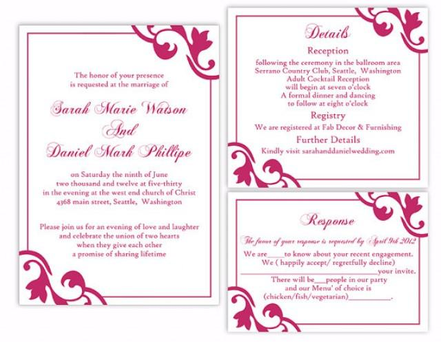 diy wedding invitation template set editable word file instant download printable invitation