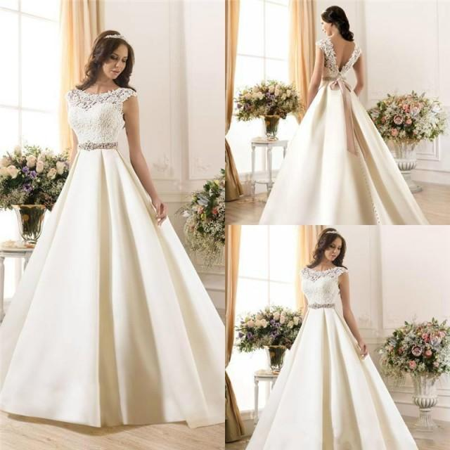 New Arrival Sheer Lace 2015 Wedding Dresses A-Line Satin