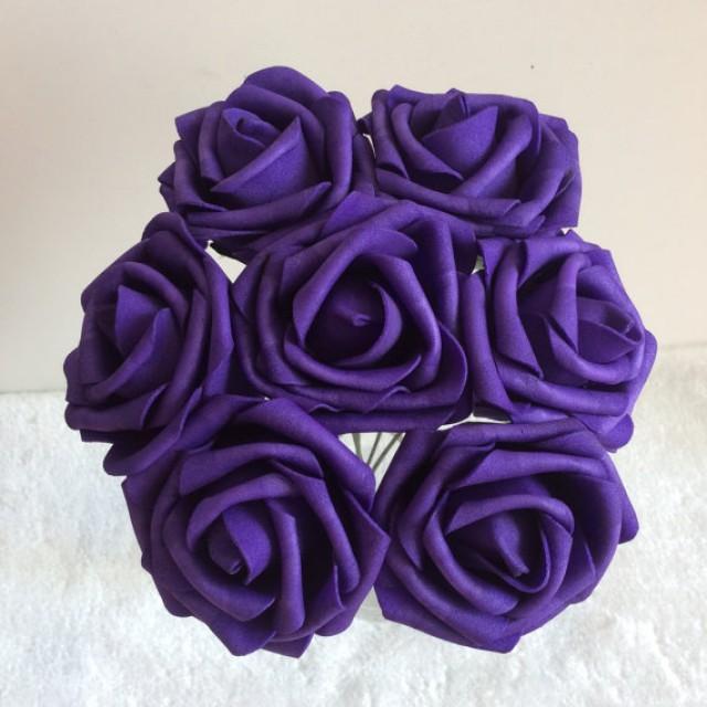 100 Pcs Dark Purple Wedding Flowers Artificial Foam Roses Diameter 3 For Bridal Bouquet Table Centerpiece 2364454