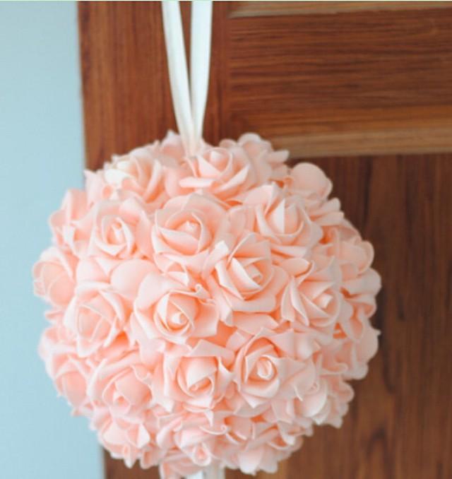 Quot blush rose kissing ball foam flowers pomanders for