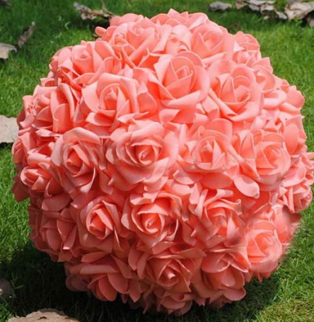 9 coral kissing ball rose pomanders for wedding centerpieces 9 coral kissing ball rose pomanders for wedding centerpieces bridal shower coral wedding decorations 2364495 weddbook junglespirit Gallery