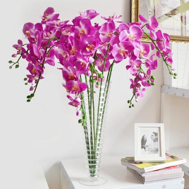 5 Pcs Purple Orchids Artificial Flowers Wedding Dinner Venue