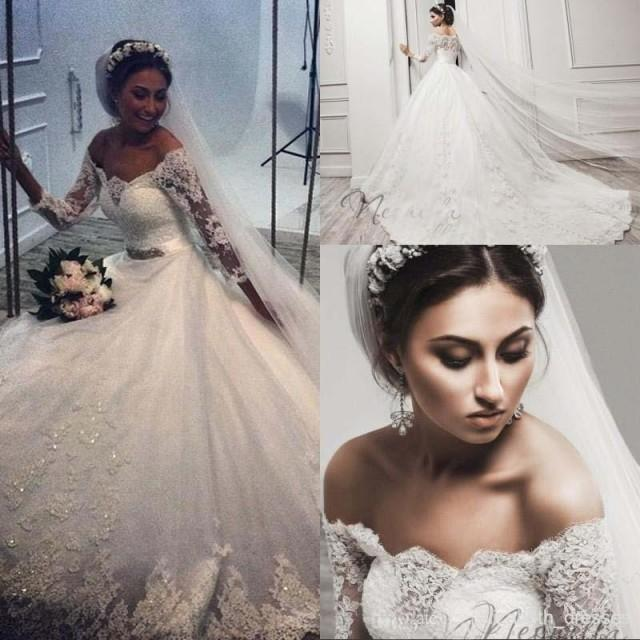 Winter Wedding Gowns 2015: Glamourous 2015 Off-shoulder Long Sleeves Wedding Dresses
