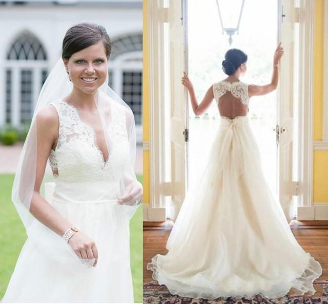 Garden Wedding Gowns: Elegant A-Line Garden Wedding Dresses 2015 V-Neck Organza