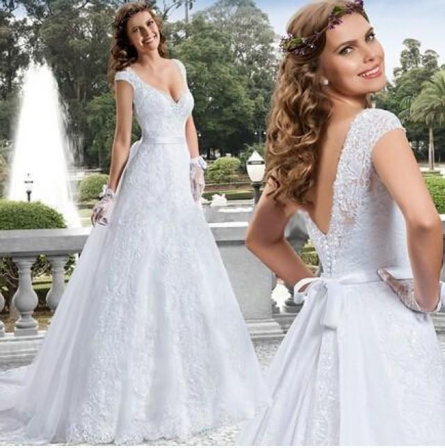 Stunning Pure White Lace Wedding Dresses 2015 V-Neck