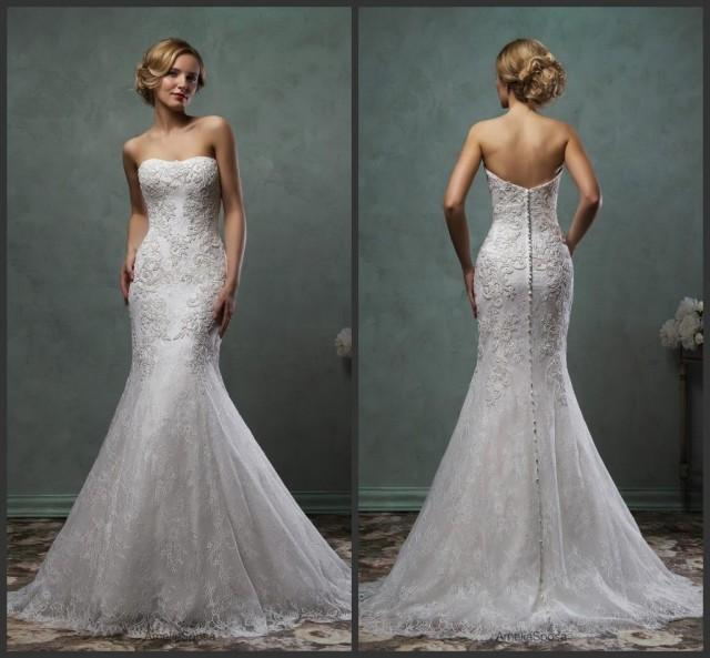 Exquisite 2016 amelia sposa lace trumpet wedding dresses for Bra for strapless wedding dress