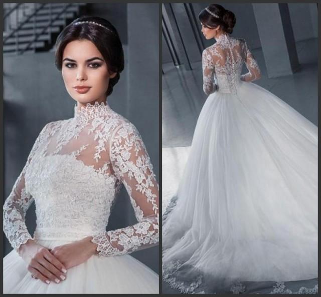 Ssyfashion Long Sleeve Wedding Dresses The Bride Elegant: Elegant High Neck Wedding Dresses With Wrap A-Line 2016