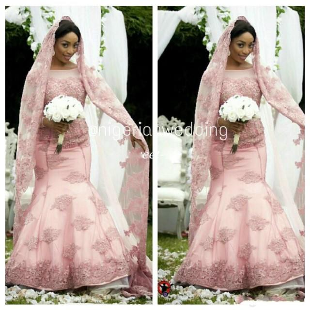 2015 blush pink winter plus size wedding dresses mermaid for Blush vintage wedding dress