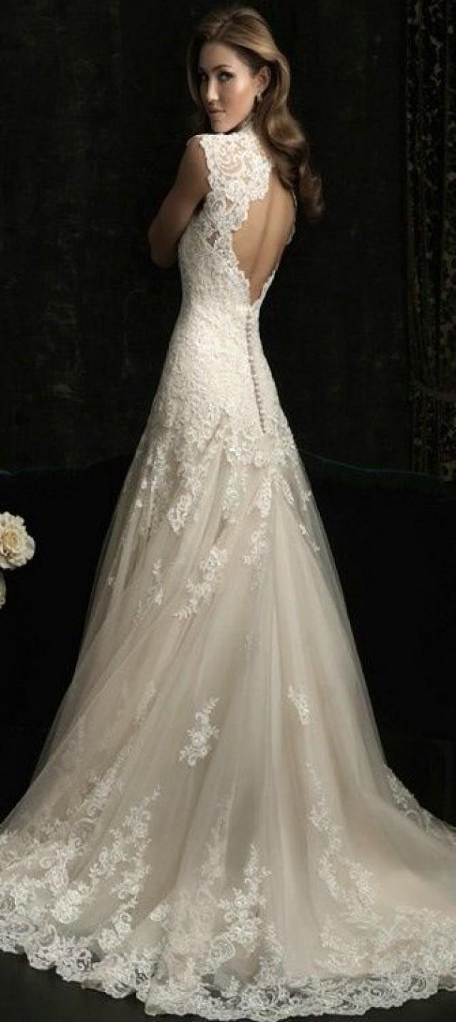 Vintage v neck sexy open back lace mermaid wedding dresses for T back wedding dress