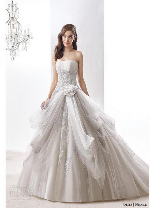 New Designer 2016 A Line Wedding Dresses Draped Light Grey Handmade ...