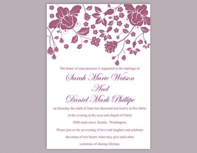 diy wedding invitation template editable word file instant download printable invitation