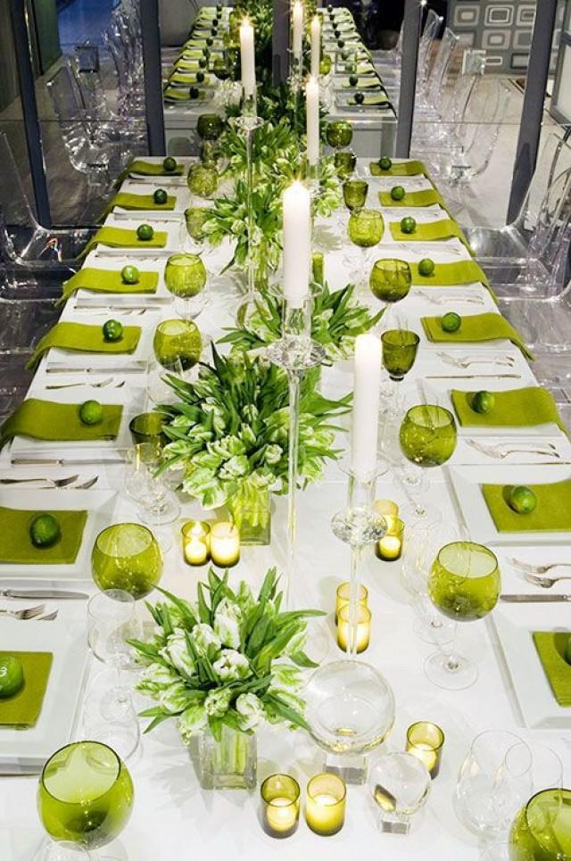 Lime Green Linens And Glassware Punctuate A Crisp White Tabletop