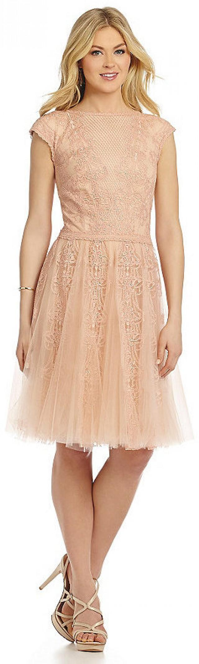 dfe1d04efb70 Tadashi Shoji Tulle Lace Tea-Length Dress #2366117 - Weddbook