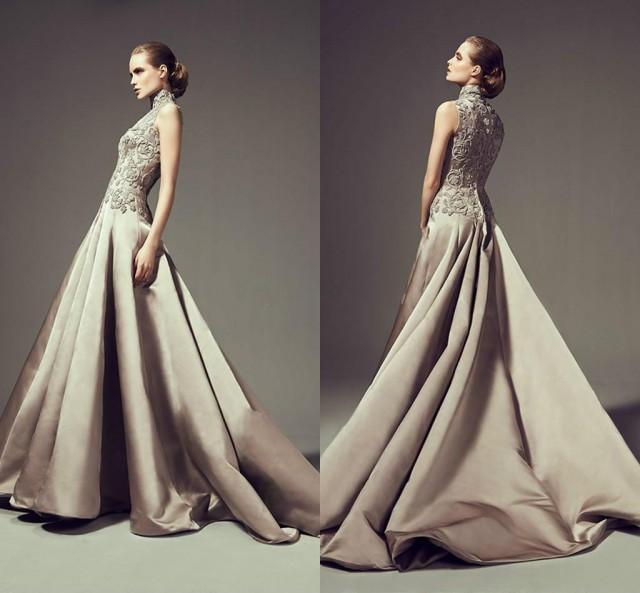 Vintage High Neck Sleeveless Wedding Dresses 2016 Arabic