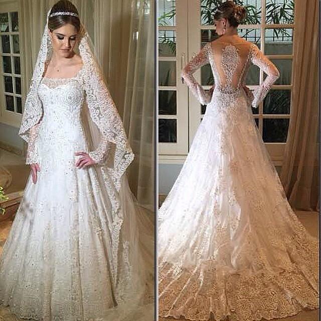 Real Image Long Sleeves Wedding Dresses Sheer 2015