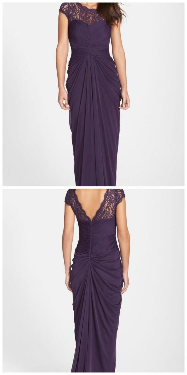 Women\'s Adrianna Papell Lace Yoke Drape Gown #2366608 - Weddbook