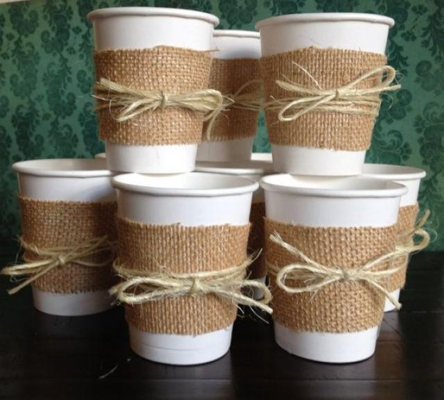 Kitchen Tea Decoration Ideas: Burlap Cups For A Wedding Shower, Bridal Shower, Wedding