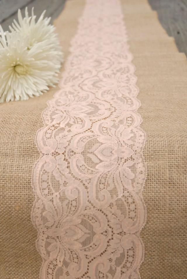 Burlap And Lace Table Runner Peachy Blush Lace 12