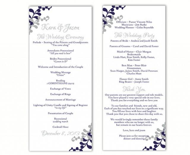 wedding program template diy editable word file instant download program navy blue program gray. Black Bedroom Furniture Sets. Home Design Ideas