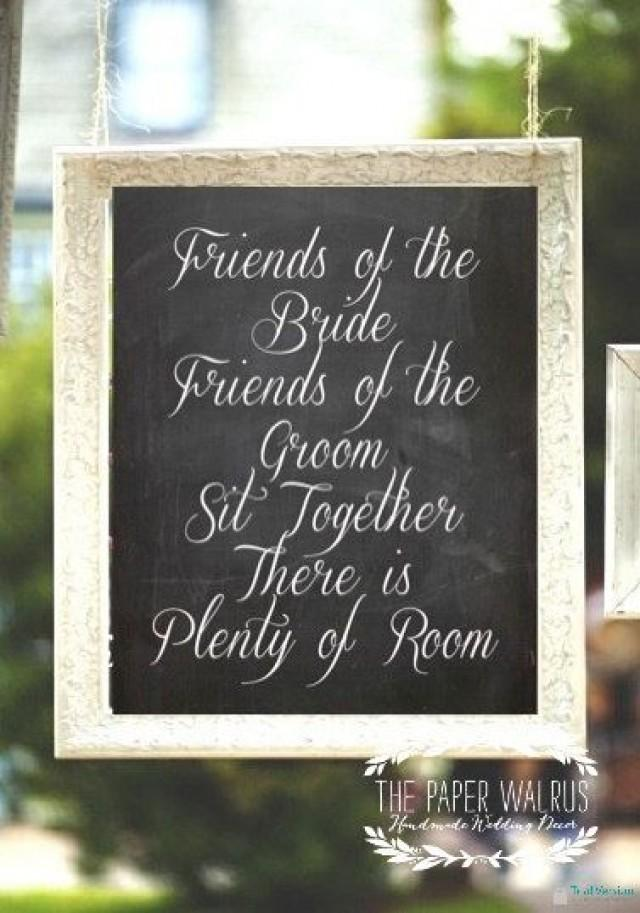 Chalkboard Wedding Seating Sign Friends Of The Bride