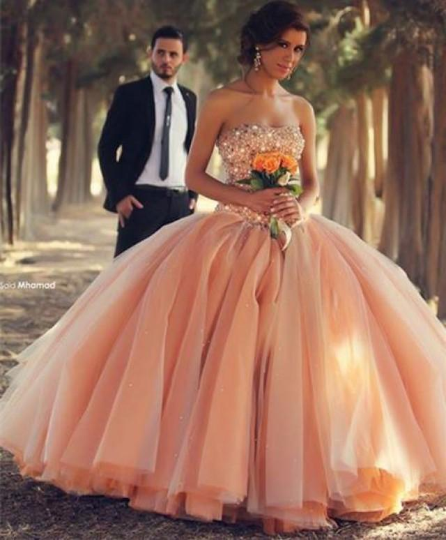 Champagne Floor Length Ball Gown Wedding Dresses With Beaded Corset
