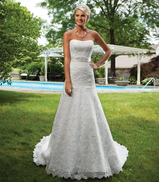Lace wedding dresses strapless a line beaded bridal for Beaded a line wedding dress