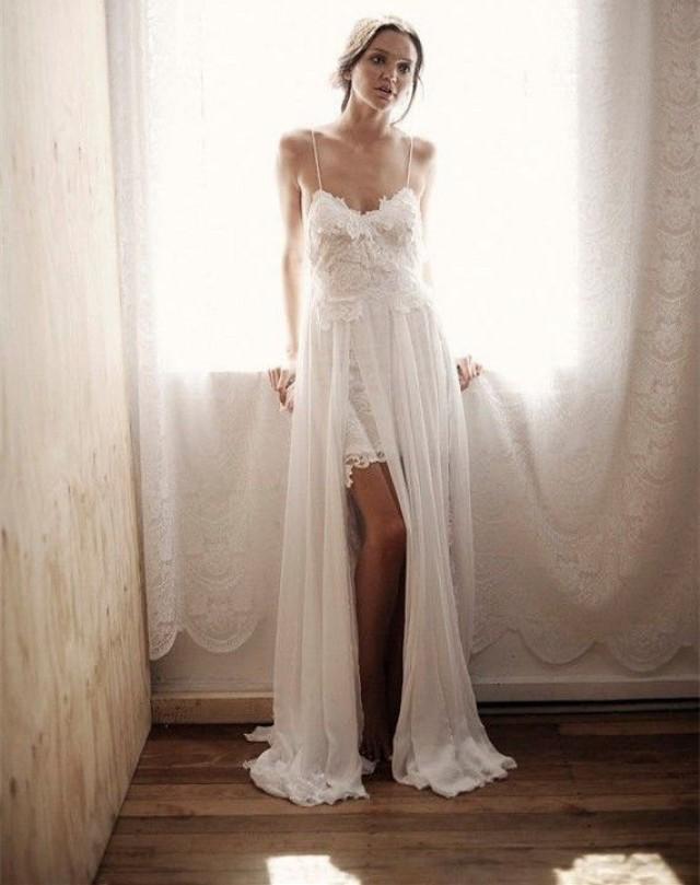 Spaghetti Tulle And Lace Boho Beach Wedding Dress Summer Bridal Gown 2371164 Weddbook