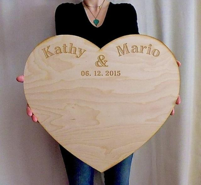 wedding guestbook alternative personalized large wood custom