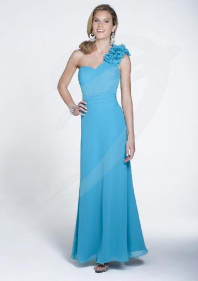Pool Floral One Shoulder Floor Length Chiffon Bridesmaid Dresses By