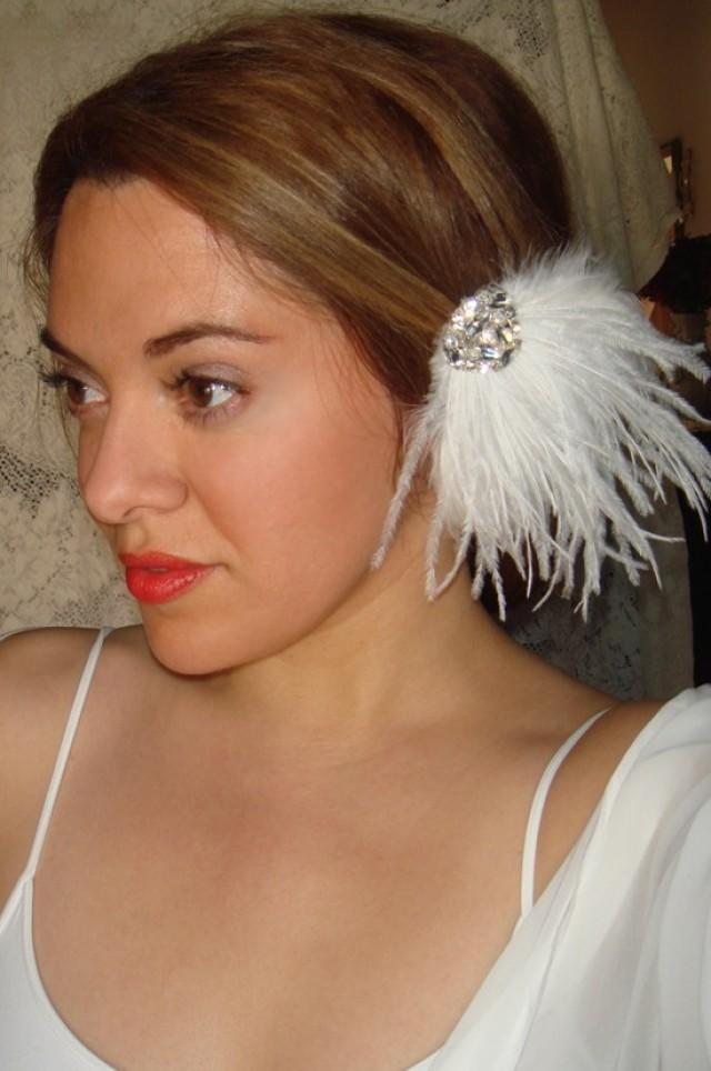 White Decorated Feather Headdress Headpiece Hair Clip Wedding Hair Accessory