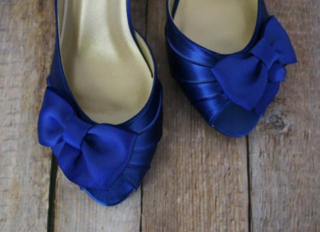 Blue Peep Toe Shoes Wedding Shoes