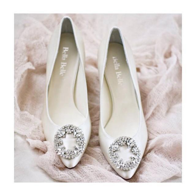 Wedding Shoes Low Heels With Vintage Oval Crystal Rhinestone Brooches Ivory Or White Bridal 2372909 Weddbook