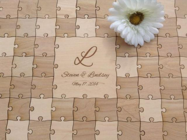 96 Pieces Rustic Wedding Guest Book Puzzle -Guest Book Alternative ...
