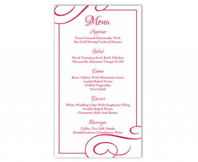 wedding menu template diy menu card template editable text word file